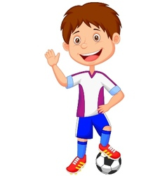 Cartoon kid playing football vector