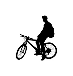 Man with a backpack on a bicycle vector