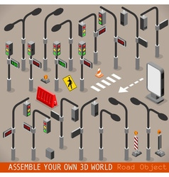 Urban traffic management set isometric vector