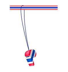 A thai whistle on a stripe ribbon vector