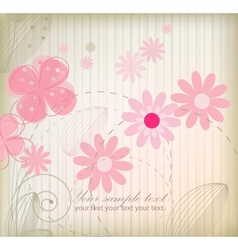 Vintage flower greeting card vector