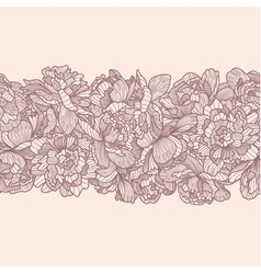 Seamless peony flowers border vector