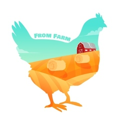 Hen with farm background inside concept of fresh vector
