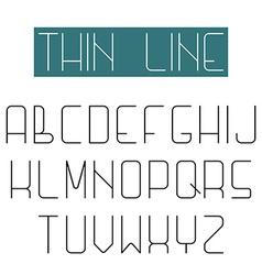 Modern design font alphabet of thin line letter vector