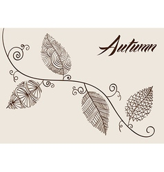 Autumn text with vintage leaves curly branch vector