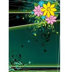 Dark green floral background vector