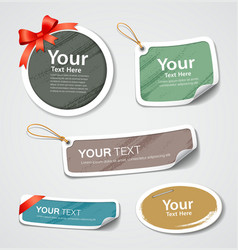 Colorful label and tag collection paper design vector