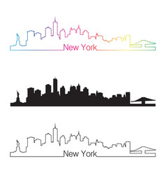 New york skyline linear style with rainbow vector