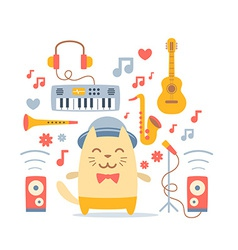 Musician character in costume hat and bow tie vector