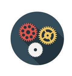 Flat design concept gears with long shadow vector