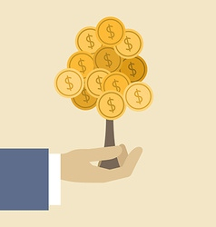 Money tree concept flat design stylish isolated on vector