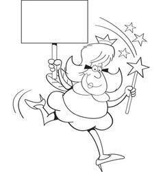 Cartoon fairy godmother holding a sign vector