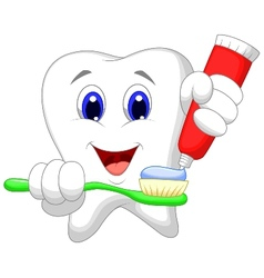 Tooth cartoon putting tooth paste on her toothbrus vector