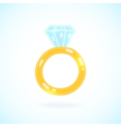 Cute cartoon ring with brilliant engagement ring vector