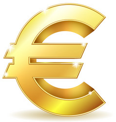 Gold sign euro currency vector