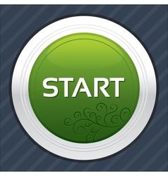 Start button green round sticker vector