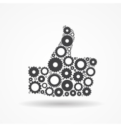 Gear icon success symbol vector