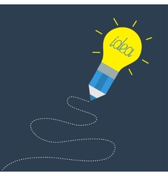 Pencil with yellow light bulb lamp and dash line vector