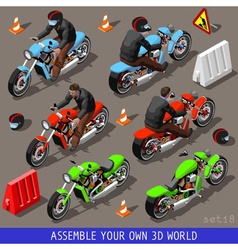 Isometric flat 3d vehicle bikers set vector