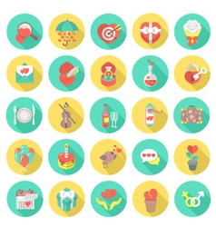 Love and dating round flat icons vector