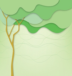 Green background with abstract tree and waves vector