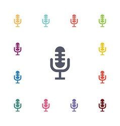 Microphone flat icons set vector