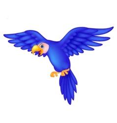 Blue parrot cartoon flying vector