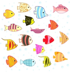 Cartoon tropical fish set vector