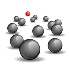 One red unique sphere lead crowd of black spheres vector