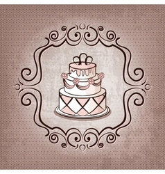 Cake on polka dot background vector