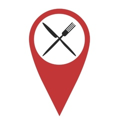 Red geo pin with fork and knife vector