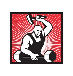Blacksmith with hammer striking barbell vector