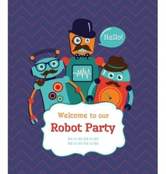 Robot party invitation card design vector