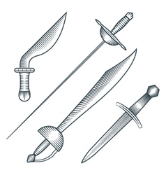 Medieval pirate sword dagger dirk engraving style vector