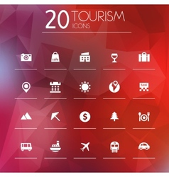 Tourism icons on blurred background vector