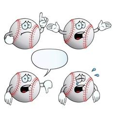 Crying baseball set vector