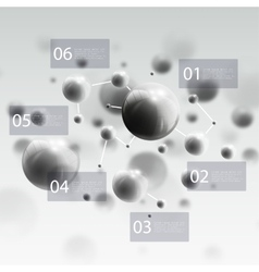 Three dimensional glowing steel spheres gray vector