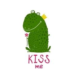 Fun green magic frog asking for kiss smiling vector