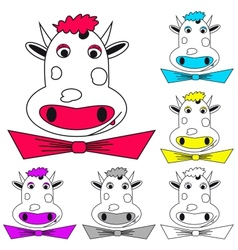 Funny cow on white coloring book vector