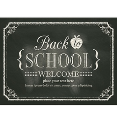 Back to school black chalk board background vector