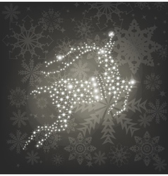 Merry christmas shine deer silver background vector