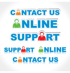 Sticker of contact us support online vector