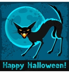 Happy halloween greeting card with angry cat vector
