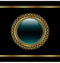 Golden floral medallion for packing - vector