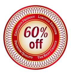 Label on 60 percent discount vector