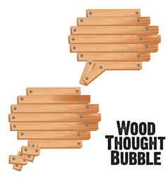 Text bubbles with wood plank vector
