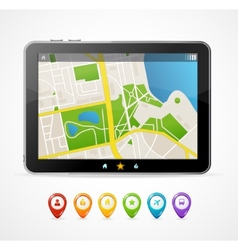 Tablet map navigation set infographics vector