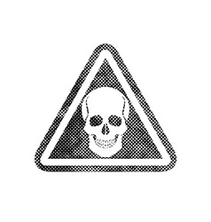 Skull warning sign with pixel print halftone dots vector