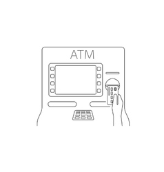 Payment by credit card via atm vector