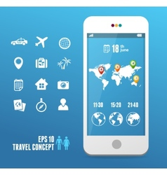 Smartphone with mobile map travel set vector